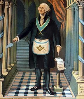 George Washington in Freimaurerschurz auf Schachbrettboden mit Baphomet-Geste